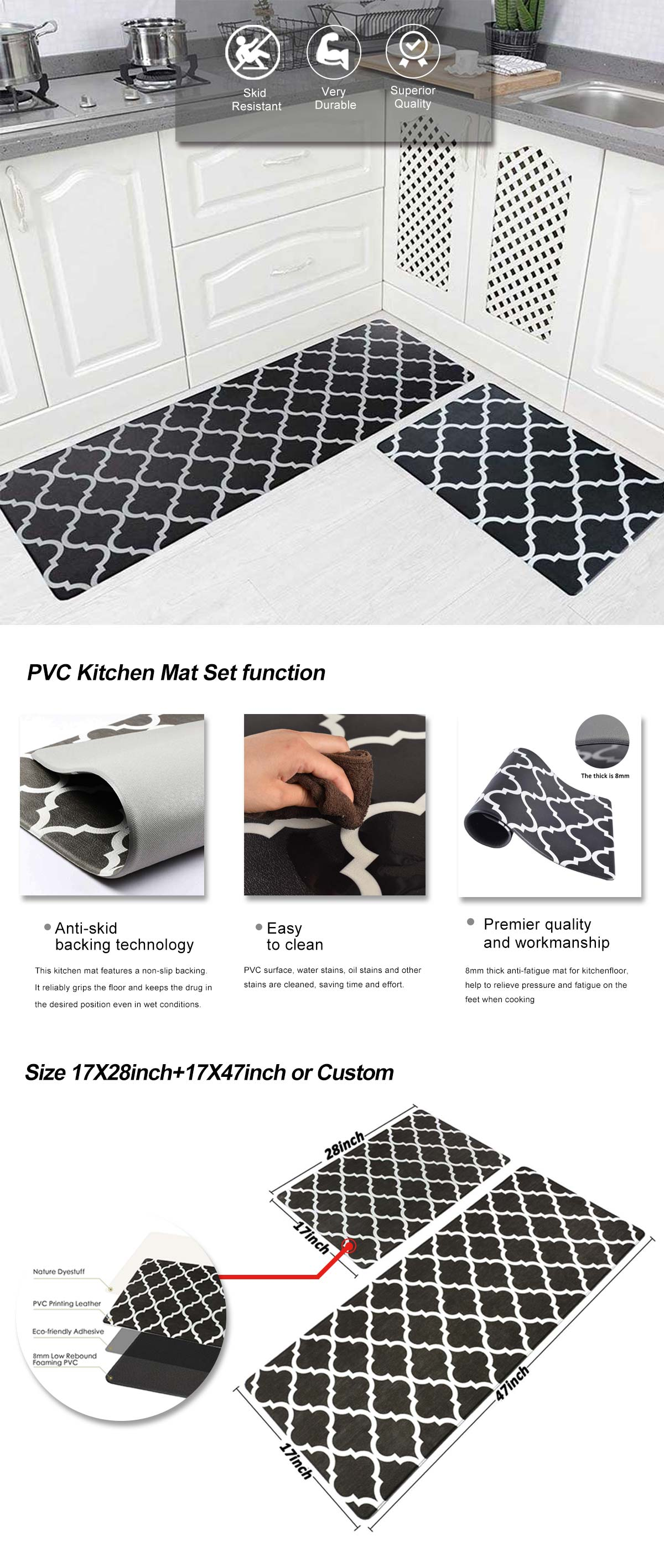 PVC Kitchen Mat Set