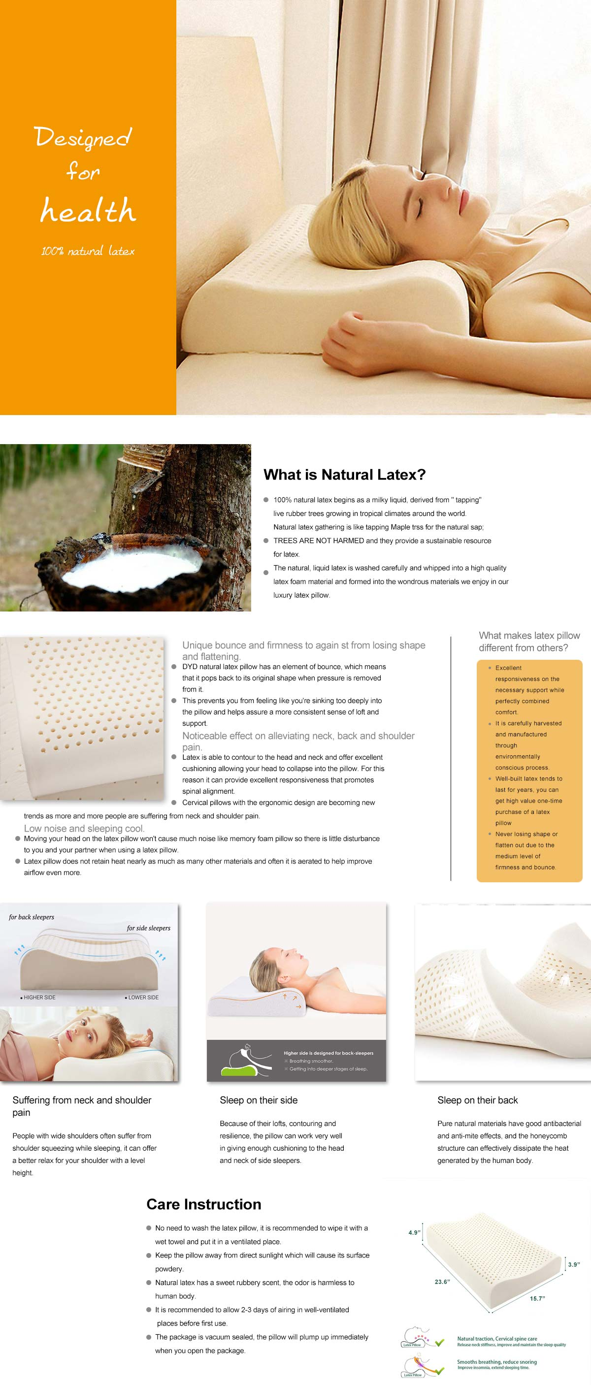100% Natural Latex Pillow
