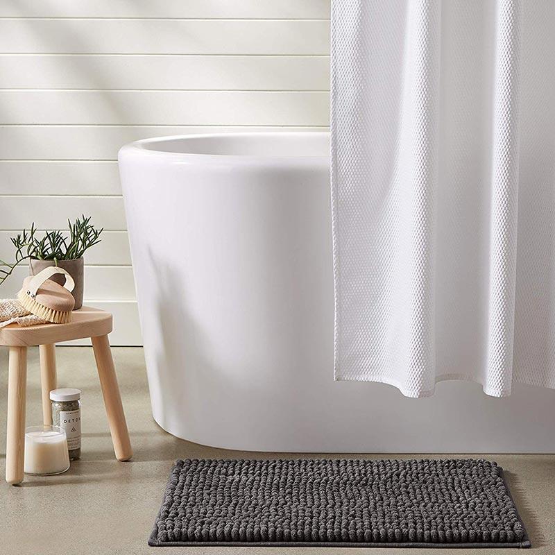 Solid Color Chenille Loop Bath Mat